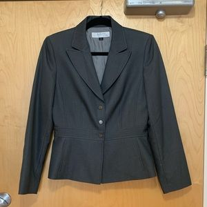 Tahari Charcoal Grey Fitted Career Blazer